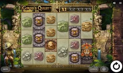 screenshot Gonzo's Quest Megaways voorbeeld van hogere casino terugbetaling bij slots van Unibet